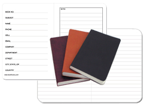pocket sized mini journals in tan, black and burgundy soft imitation leather