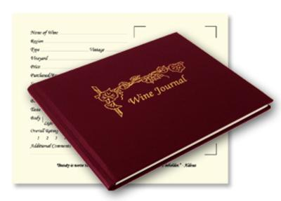 casebound leather wine journal with elegant gold stamped cover and script formatted pages