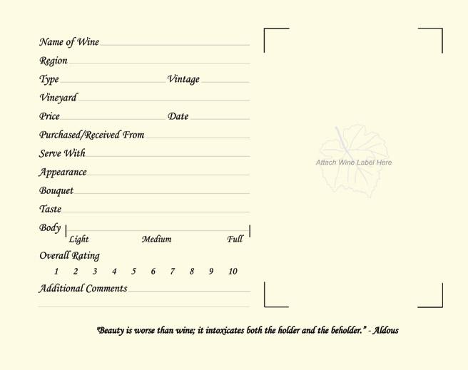 Wine Log Page
