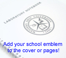 lab notebooks can be customized with your school emblem