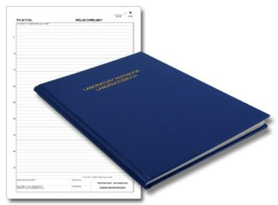 bilingual English German lab notebook with ruled page