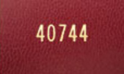 detailed image of book numbering stamped on a book cover
