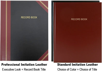 front angle view of black and maroon record books and open book