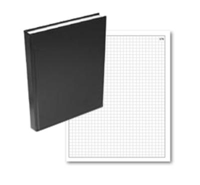 casebound grid / quad notebook with numbered pages