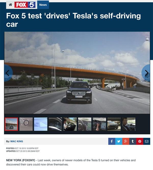 Fox 5 tesla autopilot story with a volvo tesla motors for Tesla motors careers login