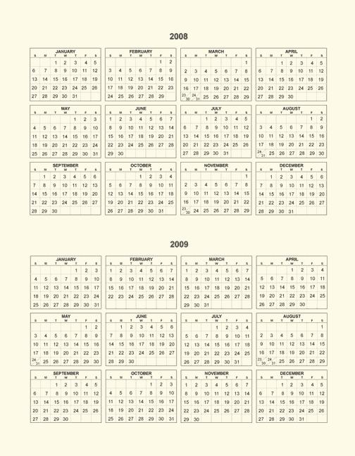 2008 2009 calendar page
