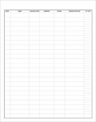 security logbook page with fields for date, name, vehicle plate, company, phone, reason for visit and in and out times